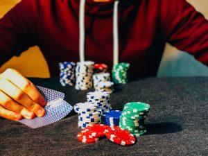 Man playing poker poker chips